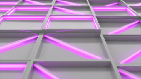 0386 Wall of white rectangle tiles with purple glowing elements Animation