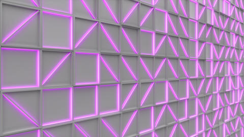 0387 Wall of white rectangle tiles with purple glowing elements Animation
