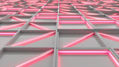 0391 Wall of white rectangle tiles red white glowing elements Animation
