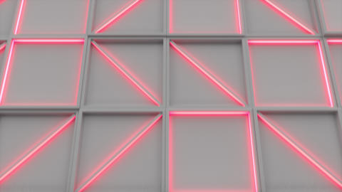0391 Wall of white rectangle tiles red white glowing... Stock Video Footage