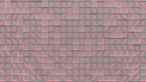 0390 Wall of white rectangle tiles red white glowing elements Animation