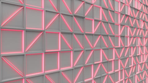 0393 Wall of white rectangle tiles red white glowing elements Animation