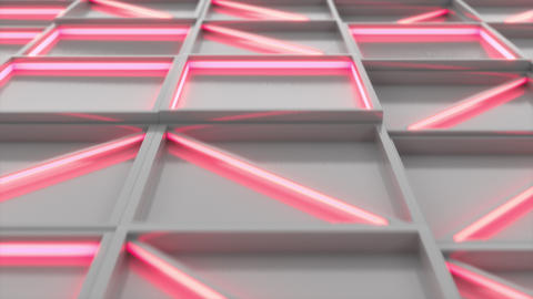 0392 Wall of white rectangle tiles red white glowing elements Animation
