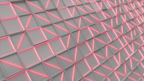 0394 Wall of white rectangle tiles red white glowing elements Animation
