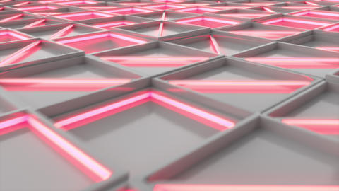 0395 Wall of white rectangle tiles red white glowing elements Animation