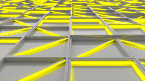 0397 Wall of white rectangle tiles with yellow glowing elements Animation