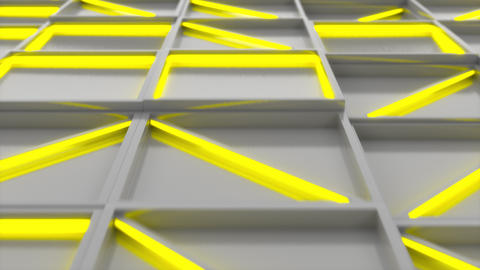 0398 Wall of white rectangle tiles with yellow glowing elements Animation