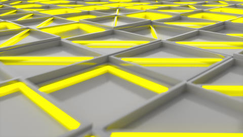 0401 Wall of white rectangle tiles with yellow glowing elements Animation