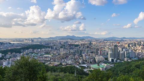 Timelapse at Seoul City Skyline, South Korea Live Action