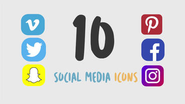10 Animated Social Media Icons Motion Graphics Template