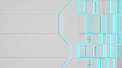 0570 White looped futuristic background with blue glowing lines and elements Animation