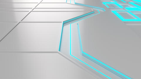 0571 White looped futuristic background with blue glowing lines and elements Animation