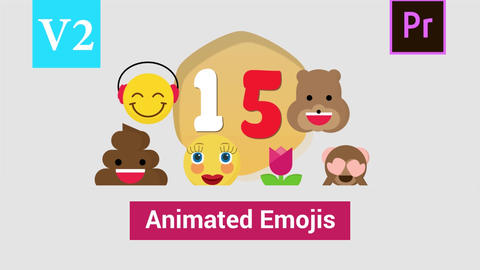 Animated Emojis Vector Pack Version 02 Motion Graphics Template