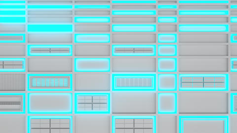 0572 White looped futuristic background with blue glowing lines and elements Animation