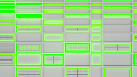 0579 White looped futuristic background with green glowing lines and elements Animation