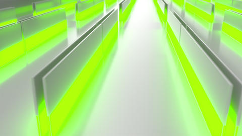 0582 White looped futuristic background with green glowing lines and elements Animation