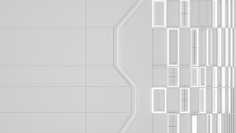 0584 White looped futuristic background with white glowing lines and elements Animation