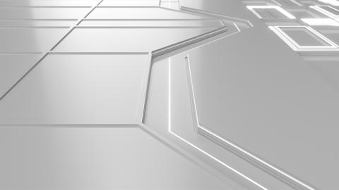 0585 White looped futuristic background with white glowing lines and elements Animation