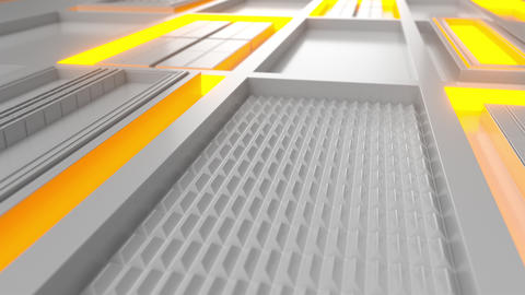 0595 White looped futuristic background with orange glowing lines and elements Animation