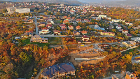 small town panoramic view from above in the autumn Uzhhorod Ukraine Europe Footage
