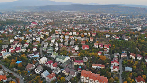 Aerial view of middle class houses in small village or town in the countryside Footage