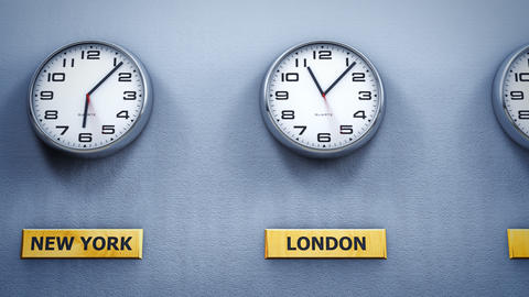 Office wall clocks showing different world time Animación