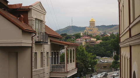 Holy Trinity Cathedral in Tbilisi center, historical heritage, praying place Live Action