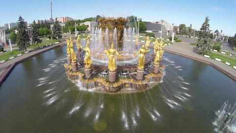 The Peoples Friendship Fountain in VDNKh park in Moscow Footage