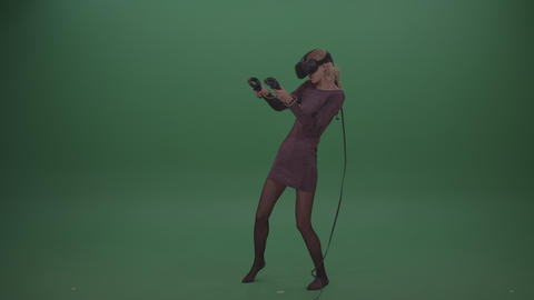 Young Blonde Wearing Brown Evening Dress Shooting Enemies In Virtual Reality Footage