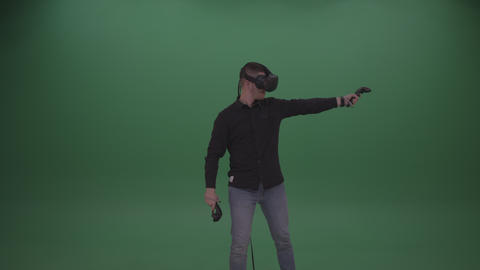 Young Dark Haired Male Wearing Black Shirt Two Handed Virtual Shooting Action Footage