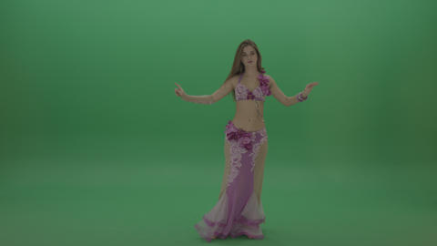 Delightful belly dancer in pink wear display amazing dance moves over chromakey ライブ動画