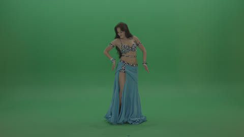 Dazzling belly dancer in blue wear display amazing dance moves over chromakey Live Action