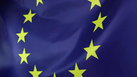 Closeup of a textile European Union flag Footage