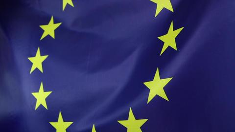 Closeup of a textile European Union flag Footage