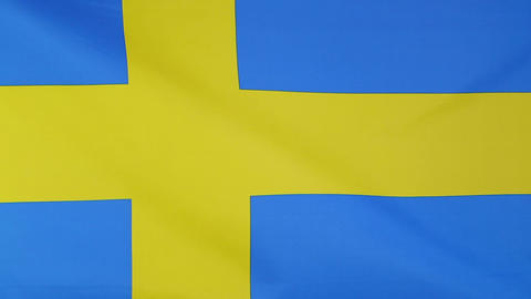 Flag of Sweden in slow motion Footage
