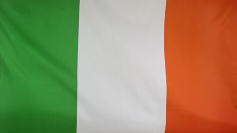 Textile flag of Ireland in slow motion Footage