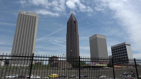 Atlanta city view - driving by on highway - ATLANTA, GEORGIA - APRIL 18, 2016 Live Action