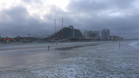 Daytona Beach skyline on a misty day - DAYTONA BEACH, FLORIDA APRIL 14, 2016 Footage
