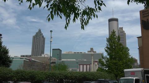 Atlanta Downtown skyline on a sunny day - ATLANTA, GEORGIA - APRIL 18, 2016 Live Action