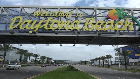 Welcome to Daytona Beach sign on International Speedway Blvd- DAYTONA, FLORIDA - Live Action