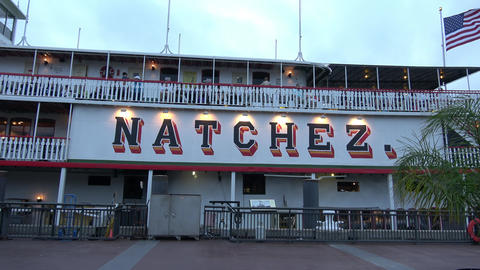Natchez paddle steamer on Mississippi River - NEW ORLEANS, LOUISIANA - APRIL 17, Footage