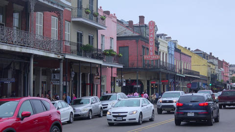 Decatur Street in New Orleans - street view - NEW ORLEANS, LOUISIANA - APRIL 17, Live Action