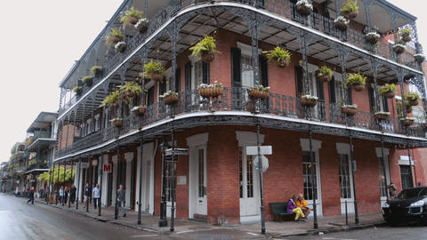 Iron banconies of New Orleans mansions - NEW ORLEANS, LOUISIANA - APRIL 17, 2016 Footage