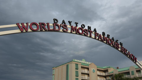 Beach Entrance sign to the worlds most famous beach - DAYTONA BEACH, FLORIDA APR Live Action