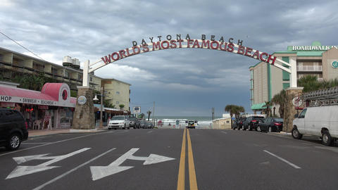 Street to worlds famous beach Daytona Beach - DAYTONA BEACH, FLORIDA APRIL 14, 2 Footage