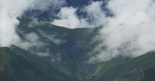4k puffy clouds mass rolling over Tibet mountaintop & valley,roof of the Wor Footage