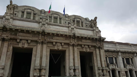 Milano Centrale Railway Station entrance in Milan, Italy Footage
