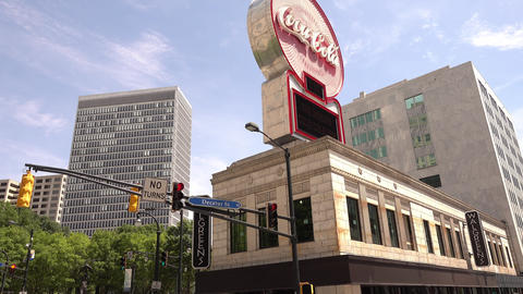 Coca Cola sign in Atlanta Downtown - ATLANTA, GEORGIA - APRIL 21, 2016 Live Action