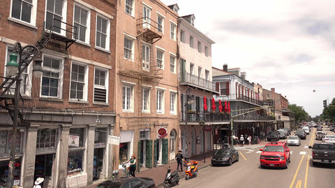 Decatur street at New Orleans French Quarter - NEW ORLEANS, LOUISIANA - APRIL 17 Footage