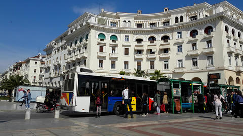 Thessaloniki, Greece - spring 2016: Aristotelous square bus stop (4K) Footage